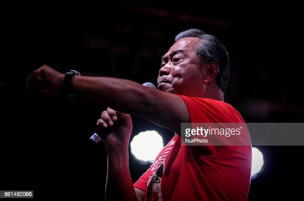 Former Malaysian Deputy Prime Minister Tan Sri Dato' Haji Muhyiddin Yassin delivers a speech during the AntiKleptocracy rally at Padang Timur...