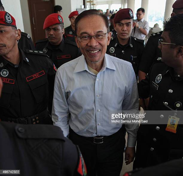 Former Malaysian opposition leader Anwar Ibrahim attends to courthouse on November 5 2015 in Kuala Lumpur Malaysia Anwar Ibrahim received five years...