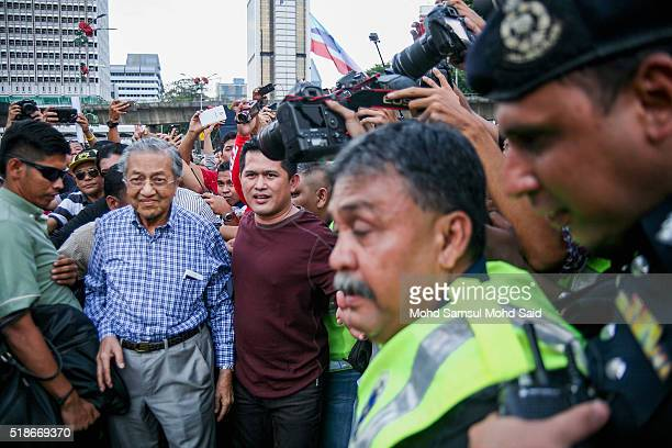 Former Malaysian prime minister Mahathir Mohamad arrives at a rally against Prime Minister Najib Razak and GST at Independent Square on April 2 2016...
