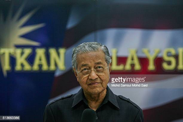 Former Malaysian prime minister Mahathir Mohamad listens to journalist questions during a news conference 'Save Malaysia' signing of the declaration...