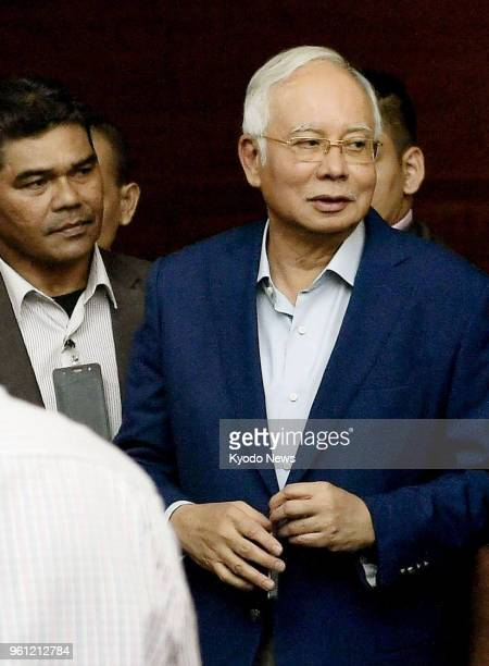 Former Malaysian Prime Minister Najib Abdul Razak is pictured on May 22 before appearing at the country's anticorruption agency in Putrajaya the...