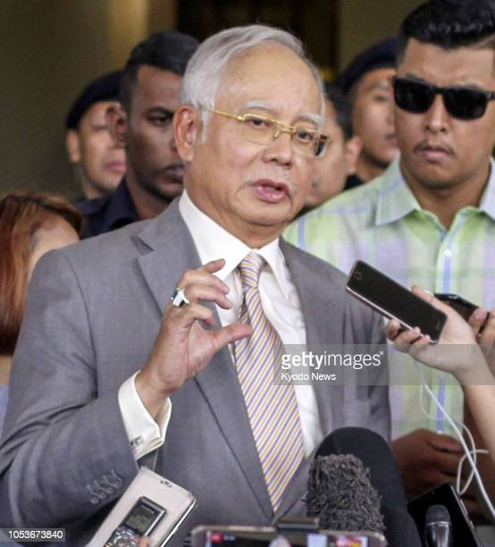 Former Malaysian Prime Minister Najib Abdul Razak speaks to reporters in Kuala Lumpur on Oct 25 after being released on bail ==Kyodo