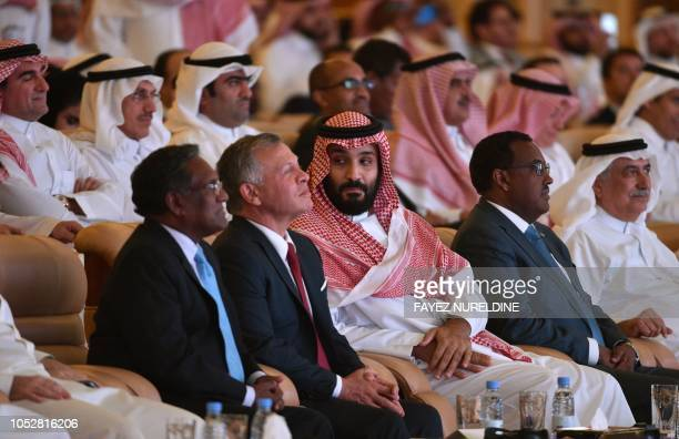 Former Maldives' president Mohammed Waheed Hassan Jordan's King Abdullah II and Saudi Crown Prince Mohammed bin Salman attend the Future Investment...
