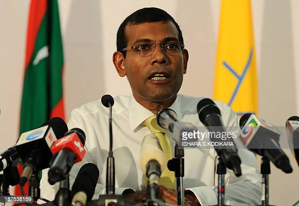 Former Maldivian president and presidential candidate Mohamed Nasheed speaks to the press in Male on November 10 2013 The Maldives Supreme Court...