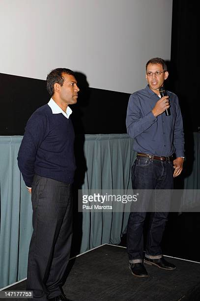 Former Maldivian President Mohamed Nasheed and filmmaker Jon Shenk attend The Island President Boston Special Screening at Kendall Square Cinema on...