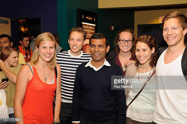 Former Maldivian President Mohamed Nasheed and students from Northeastern University attends The Island President Boston Special Screening at Kendall...