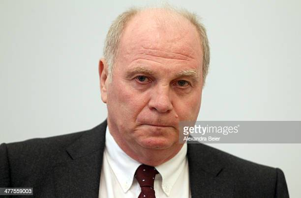 Former manager of Bayern Muenchen Uli Hoeness awaits the start of his trial at the justice palace court room on March 10 2014 in Munich Germany...