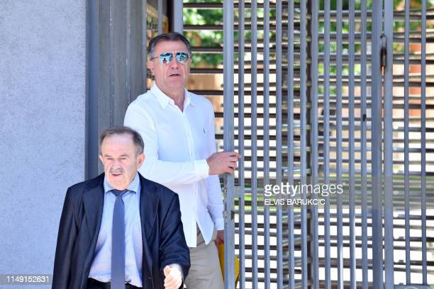 Former manager of Dinamo Zagreb football club Zdravko Mamic flanked by his lawyer Zdravko Rajic exits Court of Bosnia and Herzegovina after a...