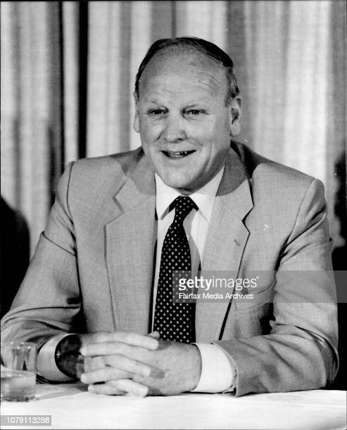 Former Manager of England Soccer team Ron Greenwood at Press Conference in Travelodge Wynyard May 18 1983