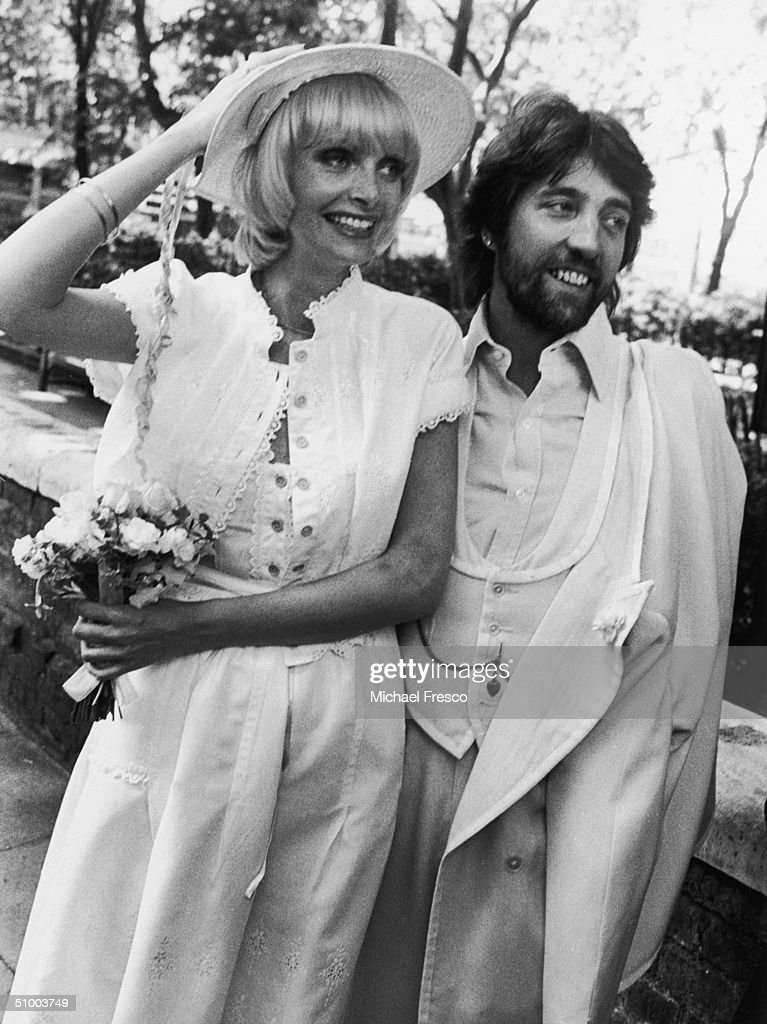 Former manager of fashion model Twiggy, Justin De Villeneuve with Jan Ward at their wedding, 26th June 1975.