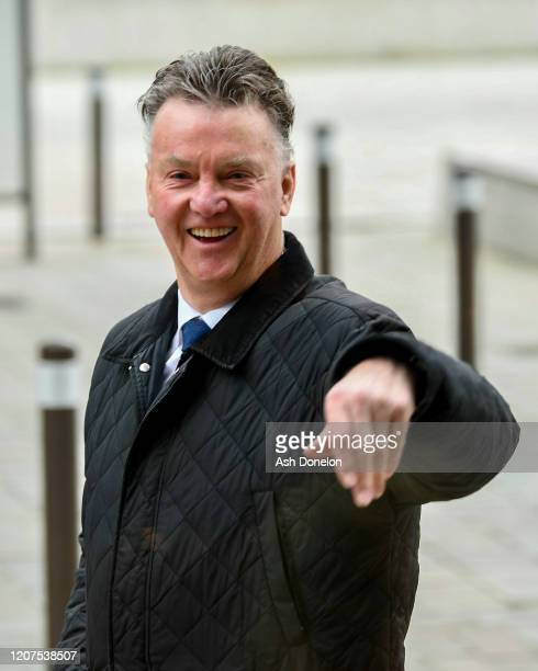 Former manager of Manchester United Louis van Gaal arives ahead of the UEFA Europa League round of 32 first leg match between Club Brugge and...