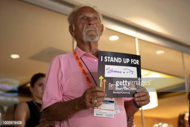 Former manager of the Detroit Tigers Jim Leyland is seen holding up a Stand Up 2 Cancer placard during the SU2C moment at the 89th MLB AllStar Game...