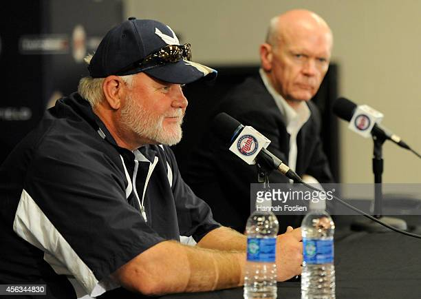 Former manager Ron Gardenhire and General Manager Terry Ryan of the Minnesota Twins speak to the media at a press conference announcing that...