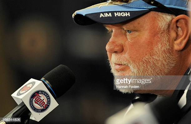 Former manager Ron Gardenhire of the Minnesota Twins speaks to the media at a press conference announcing that Gardenhire is being replaced as Twins...