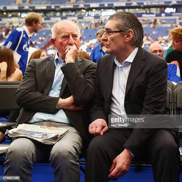 Former manager Rudi Assauer and Werner Hansch attend the general assembly of FC Schalke 04 at VeltinsArena on June 28 2015 in Gelsenkirchen Germany