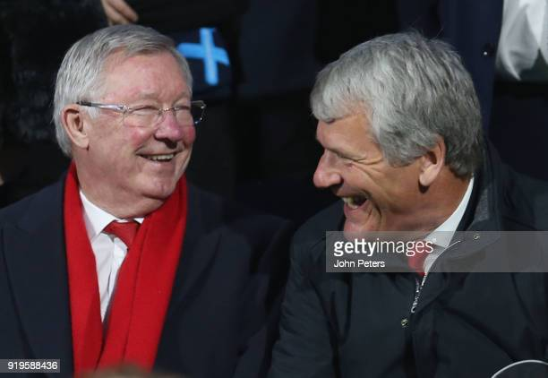 Former manager Sir Alex Ferguson and former Chief Executive David Gill of Manchester United watch from the stand during the Emirates FA Cup Fifth...