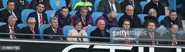 Former manager Sir Alex Ferguson former Chief Executive David Gill former player Sir Bobby Charlton Group Managing Director Richard Arnold Executive...