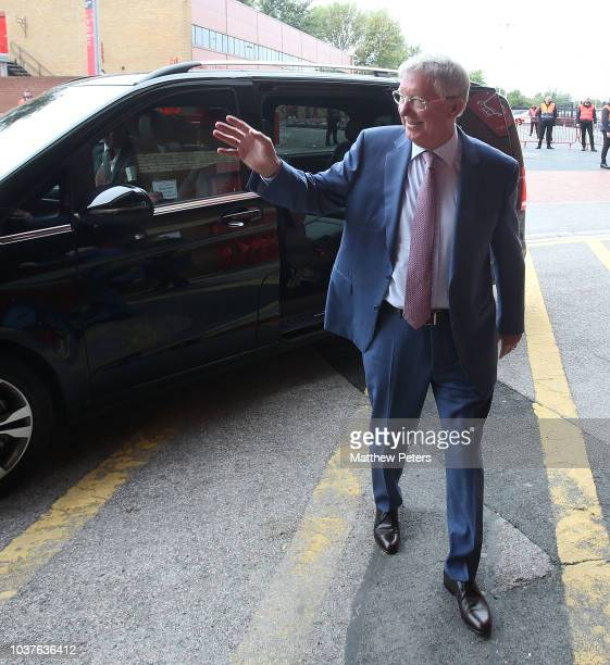 Former manager Sir Alex Ferguson of Manchester United arrives ahead of the Premier League match between Manchester United and Wolverhampton Wanderers...