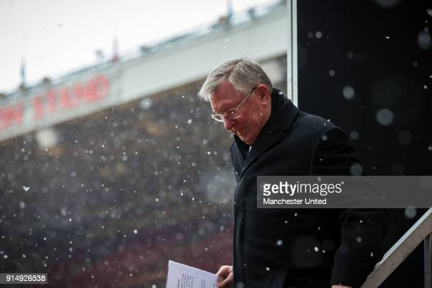 Former manager Sir Alex Ferguson of Manchester United attends a service to commemorate the 60th anniversary of the Munich Air Disaster at Old...