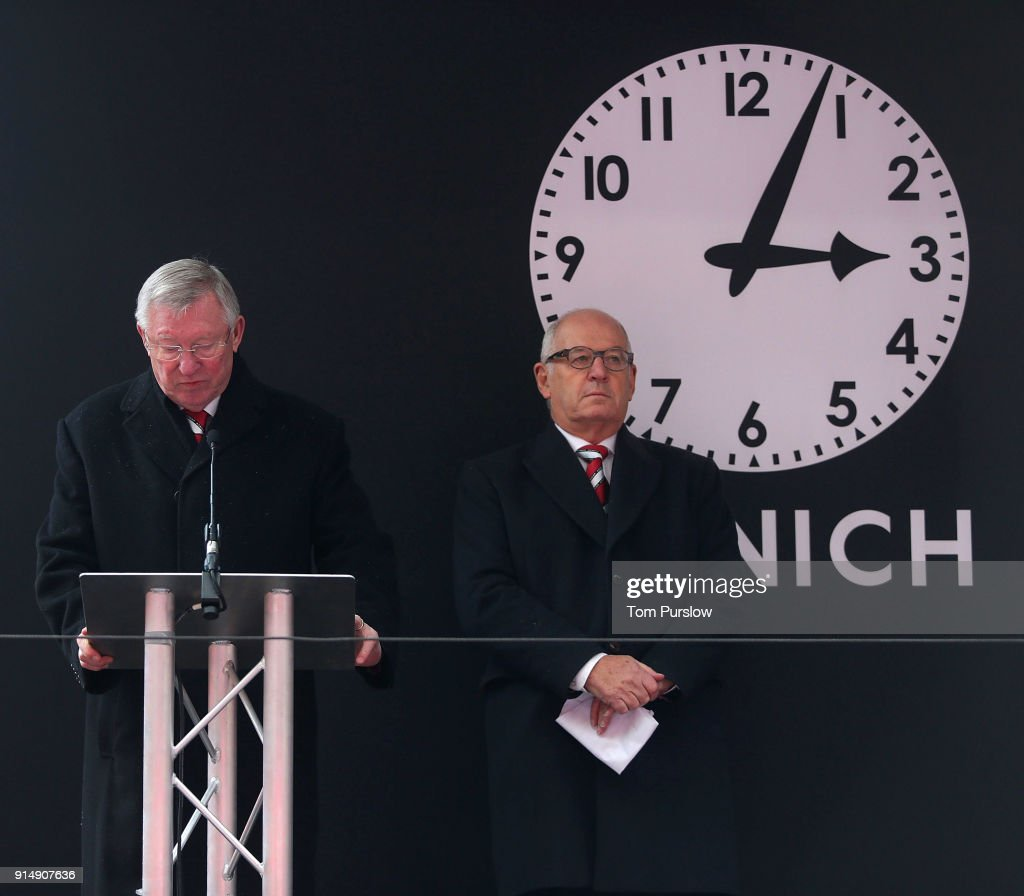 Former manager Sir Alex Ferguson of Manchester United gives a reading at a service to commemorate the 60th anniversary of the Munich Air Disaster at Old Trafford on February 6, 2018 in Manchester, England.