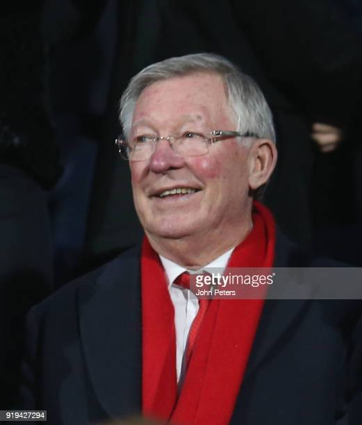 Former manager Sir Alex Ferguson of Manchester United watches from the stand during the Emirates FA Cup Fifth Round match between Huddersfield Town...