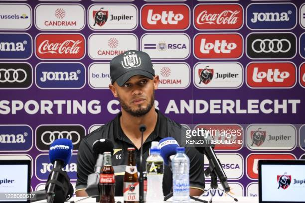 Former Manchester City and Belgian international defender Vincent Kompany speaks during a press conference at the Royal Sporting Club of Anderlecht,...