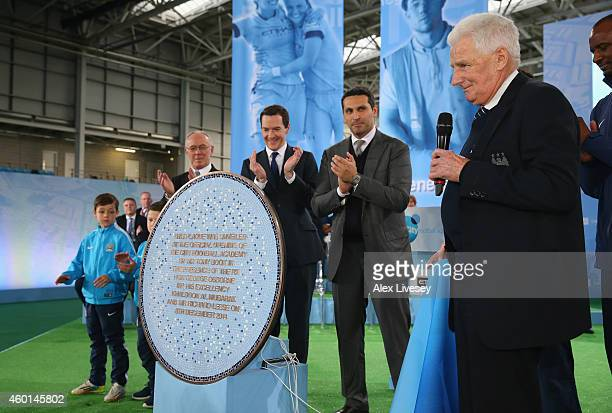 Former Manchester City captain Tony Book unveils the official plaque as George Osborne the Chancellor of the Exchequer and Khaldoon Al Mubarek the...