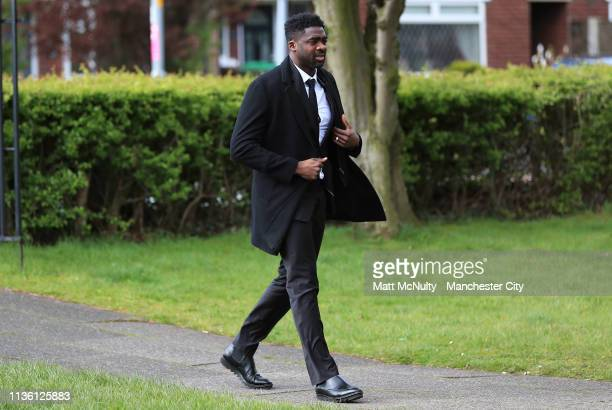 Former Manchester City defender Kolo Toure arrives at the Funeral of Manchester City Life President Bernard Halford at St Mary's Church in Manchester...
