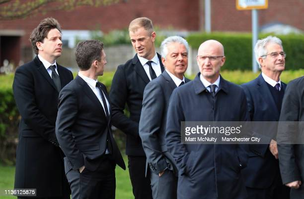Former Manchester City goalkeeper Joe Hart arrives at the Funeral of Manchester City Life President Bernard Halford at St Mary's Church in Manchester...