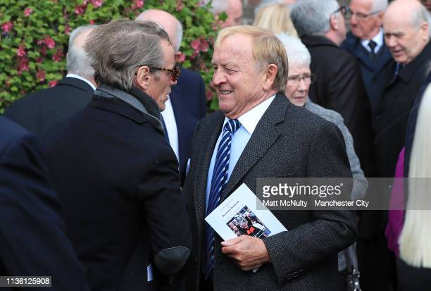 Former Manchester City player and chairman Francis Lee leaves the service at the Funeral of Manchester City Life President Bernard Halford at St...