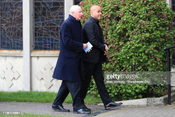 Former Manchester City players Fred Eyre and John Edghill arrive at the Funeral of Manchester City Life President Bernard Halford at St Mary's Church...