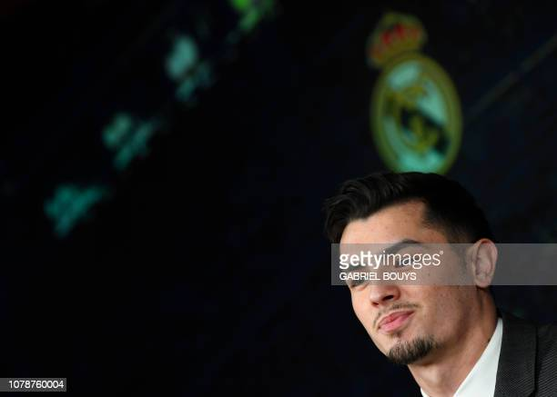 Former Manchester City's Spanish midfielder Brahim Diaz holds a press conference during his official presentation as Real Madrid's player at the...
