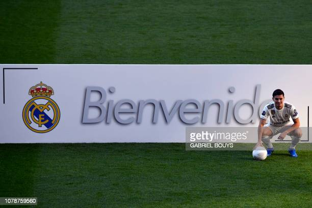 Former Manchester City's Spanish midfielder Brahim Diaz poses during his official presentation as Real Madrid's player at the Santiago Bernabeu...