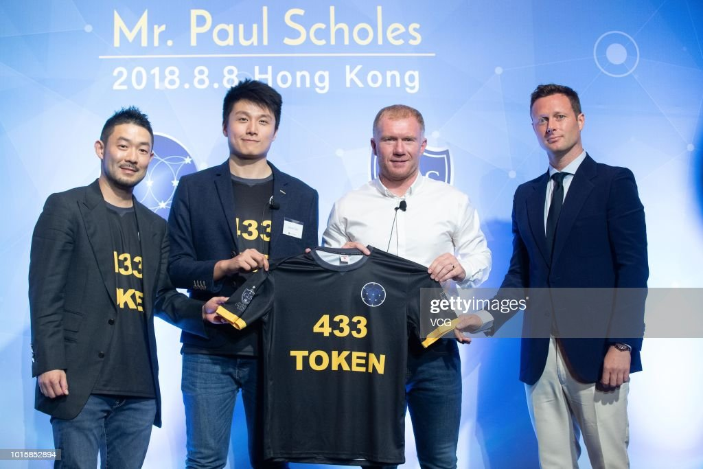 Former Manchester United and England footballer Paul Scholes attends 433 Token promotional event on August 8, 2018 in Hong Kong, China.