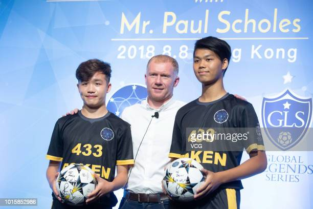 Former Manchester United and England footballer Paul Scholes attends 433 Token promotional event on August 8 2018 in Hong Kong China