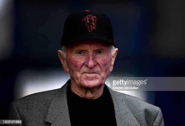 Former Manchester United and Northern Ireland goalkeeper Harry Gregg looks on during the u19 NI Super Cup gala match at Coleraine Showgrounds on July...