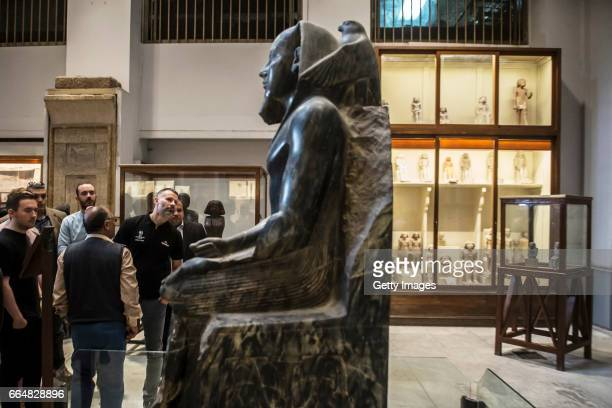 Former Manchester United and Wales footballer Ryan Giggs visits the Egyptian Museum during the UEFA Champions League trophy tour presented by...