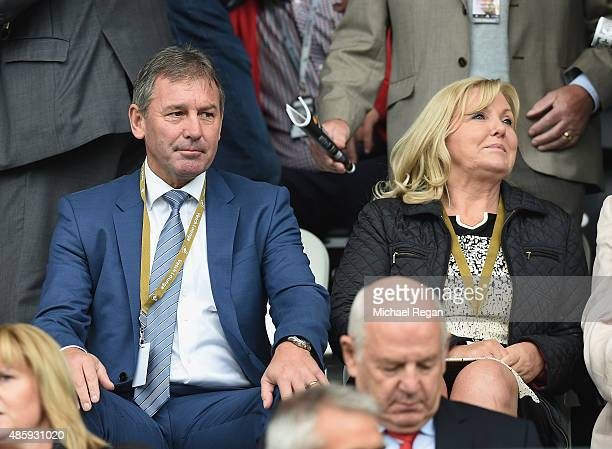Former Manchester United captain Bryan Robson watches during the Barclays Premier League match between Swansea City and Manchester United at Liberty...