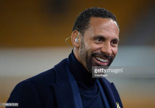 Former Manchester United defender Rio Ferdinand working for BT Sport prior to the FA Cup Third Round match between Wolverhampton Wanderers and...