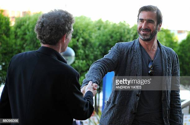 Former Manchester United footballer and film star Eric Cantona arrives at the Vue cinema at the Lowry outlet village in Salford Manchester northwest...