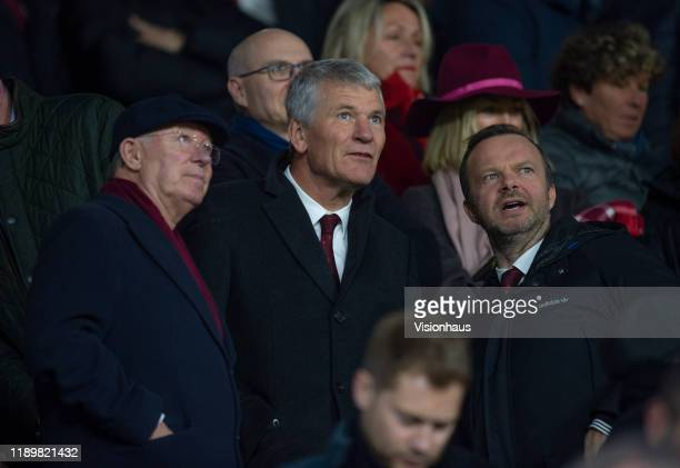 Former Manchester United manager Alex Ferguson and former chief executive David Gill in conversation with the club CEO Ed Woodward before the Premier...