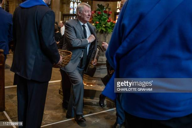 Former Manchester United manager Alex Ferguson is pictured as footballers and celebrities attend the funeral of Eric Harrison at Halifax Minster...