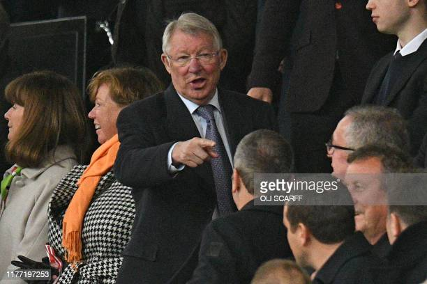 Former Manchester United manager Alex Ferguson is seen in the crowd ahead of the English Premier League football match between Manchester United and...