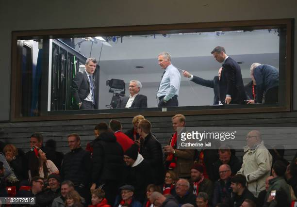 Former Manchester United Manager Jose Mourinho looks on during the Premier League match between Manchester United and Liverpool FC at Old Trafford on...
