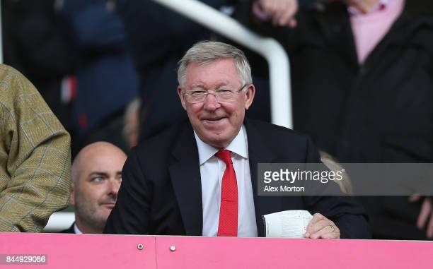Former Manchester United manager Sir Alex Ferguson during the Premier League match between Stoke City and Manchester United at Bet365 Stadium on...