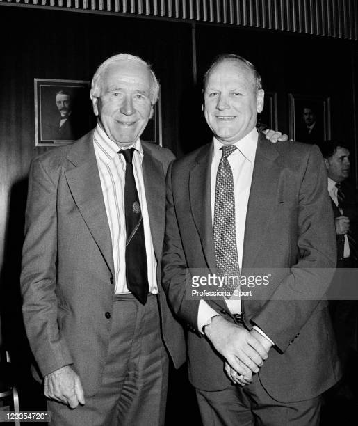 Former Manchester United manager Sir Matt Busby with England manager Ron Greenwood during the reception for the 1982 FIFA World Cup brochure launch...