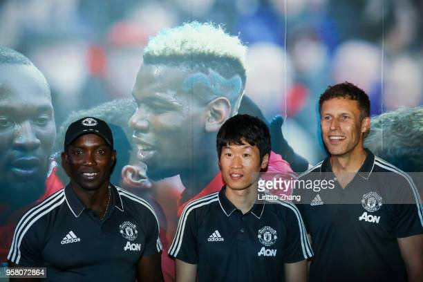 Former Manchester United player Dwight Yorke Park JiSung and Ronny Johnsen attend ILOVEUNITED Fan Party on May 13 2018 in Beijing China