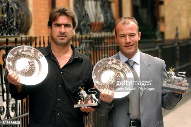 Former Manchester United player, Eric Cantona and Newcastle United's Alan Shearer hold their awards, after it was announced that they both won top...