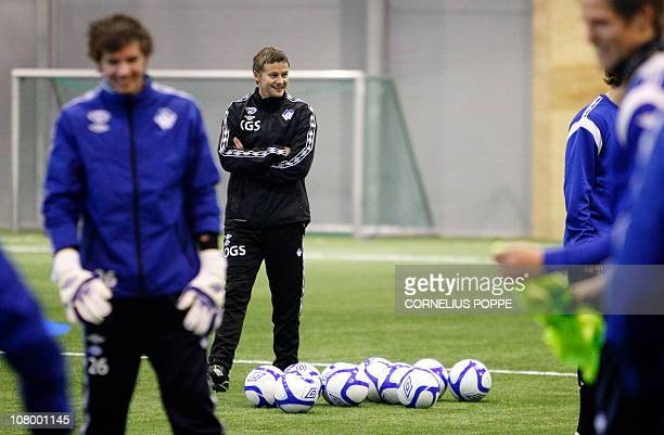 Former Manchester United player Ole Gunnar Solskjaer attends his first training session as manager of the Norwegian team Molde FK in Molde on January...