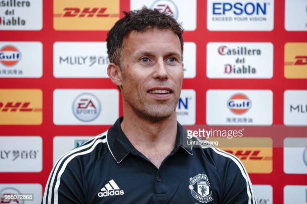 Former Manchester United player Ronny Johnsen attend a press conference before the ILOVEUNITED Fan Party on May 13 2018 in Beijing China